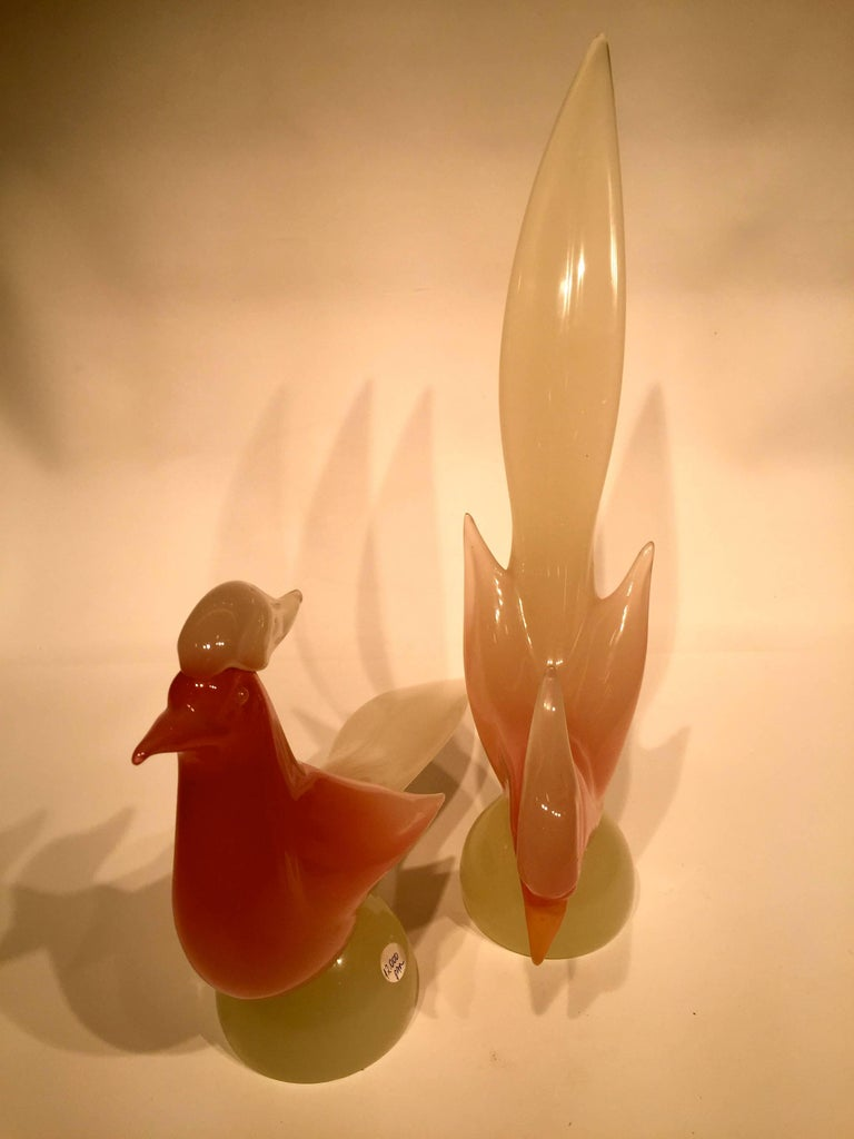Italian Archimede Seguso 1950 Pink Opalescent Pair in Murano Glass For Sale