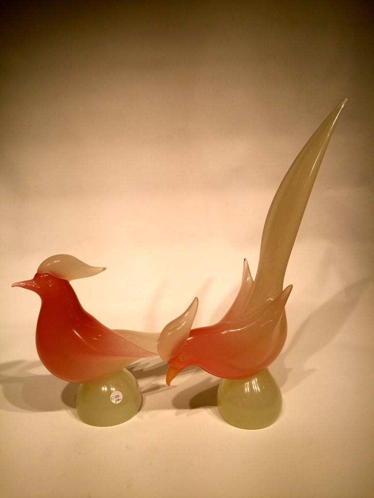 Appliqué Archimede Seguso 1950 Pink Opalescent Pair in Murano Glass For Sale