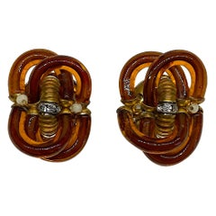 Archimede Seguso 1960s Amber Murano Glass Earrings