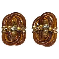 Archimede Seguso 1960s Amber Murano Glass Link Earrings
