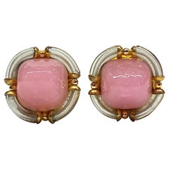 Archimede Seguso 1960s Murano Glass Button Earrings