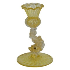Archimede Seguso Attributed Glass Candlestick with Dolphin, circa 1960s