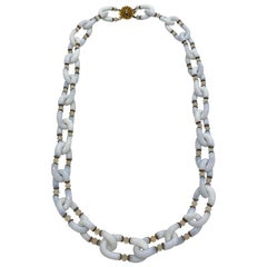 Archimede Seguso for Chanel White Opaline Murano Glass 1960s Necklace