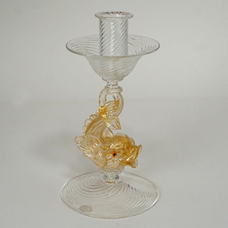 20th Century Archimede Seguso Glass Candle Stick with Dolphin, circa 1960s For Sale