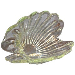 Archimede Seguso Handblown Clear Murano Glass Clam Shell Centerpiece, Italy