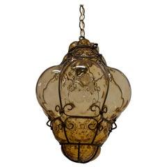 Archimede Seguso Mid-Century Modern Murano Blown Amber Glass Pendant Lamp, 1945