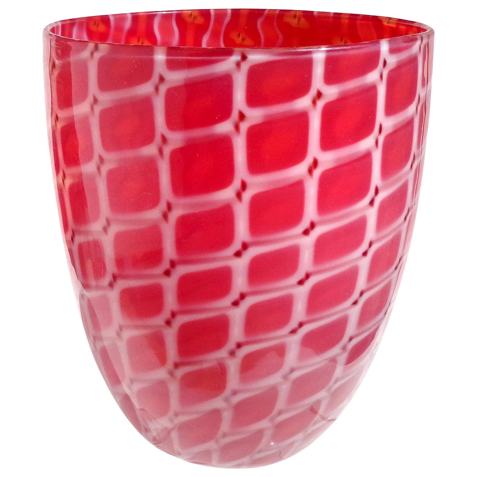 Archimede Seguso Murano 1952 Red White Opal Italian Art Glass Flower Vase