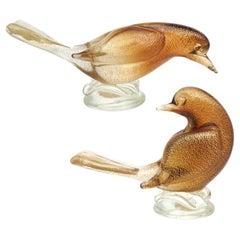 Archimede Seguso Murano Amber Gold Flecks Italian Art Glass Dove Birds Figures