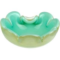 Archimede Seguso Murano Aqua Gold Flecks Italian Art Glass Flower Bowl Dish