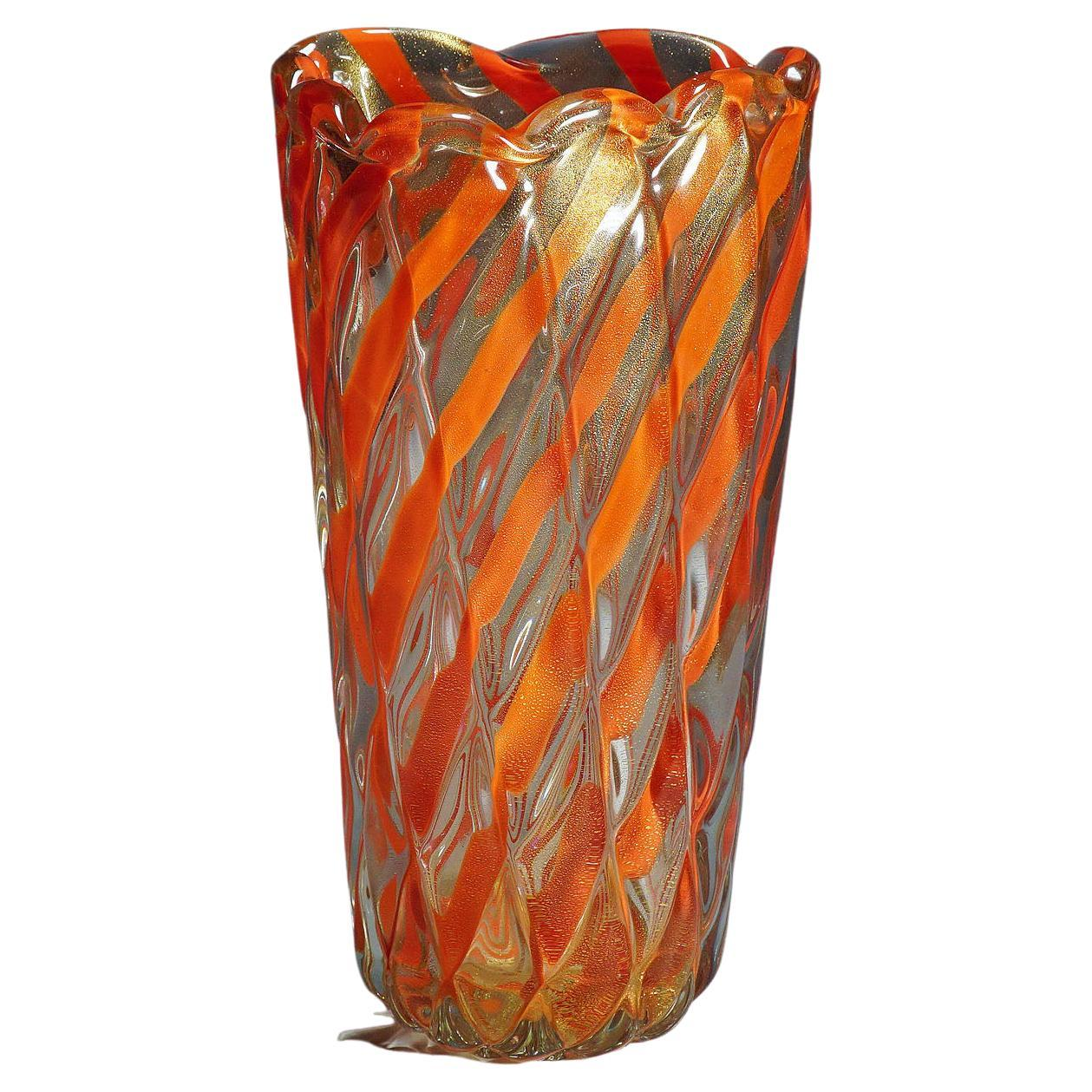 """Archimede Seguso Murano 'attr.' ribbed """"Corallo Oro"""" Vase, 1960s"""