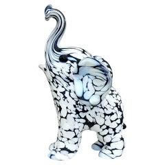 Archimede Seguso Murano Black White Italian Art Glass Elephant Figure Sculpture