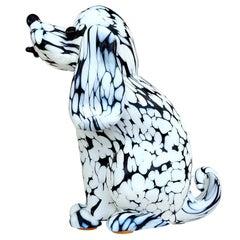 Archimede Seguso Murano Black White Italian Art Glass Puppy Dog Sculpture Figure