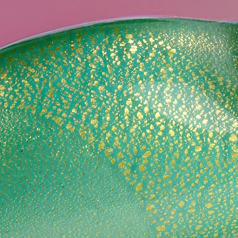 20th Century Archimede Seguso Murano Blue Green Pink Gold Flecks Italian Art Glass Bowls For Sale