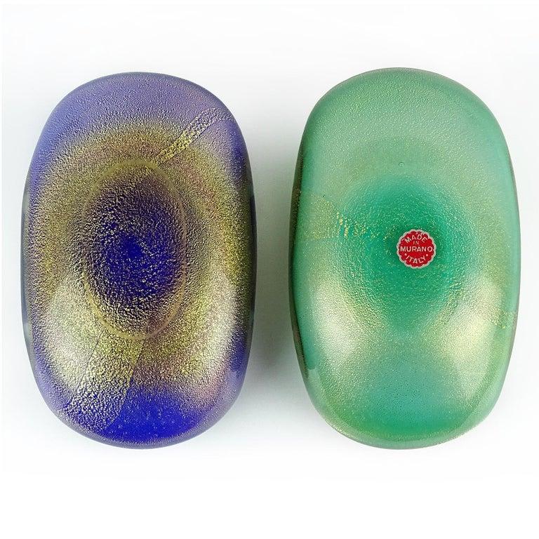 Archimede Seguso Murano Blue Green Pink Gold Flecks Italian Art Glass Bowls For Sale 1