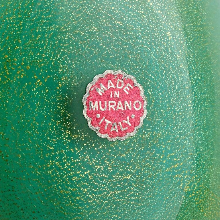 Archimede Seguso Murano Blue Green Pink Gold Flecks Italian Art Glass Bowls For Sale 2