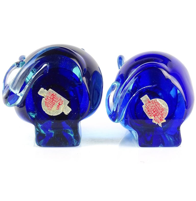 Mid-Century Modern Archimede Seguso Murano Blue Sommerso Italian Art Glass Mouse Figural Bookends For Sale