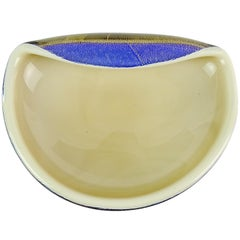 Archimede Seguso Murano Blue Tan Gold Flecks Italian Art Glass Decorative Bowl