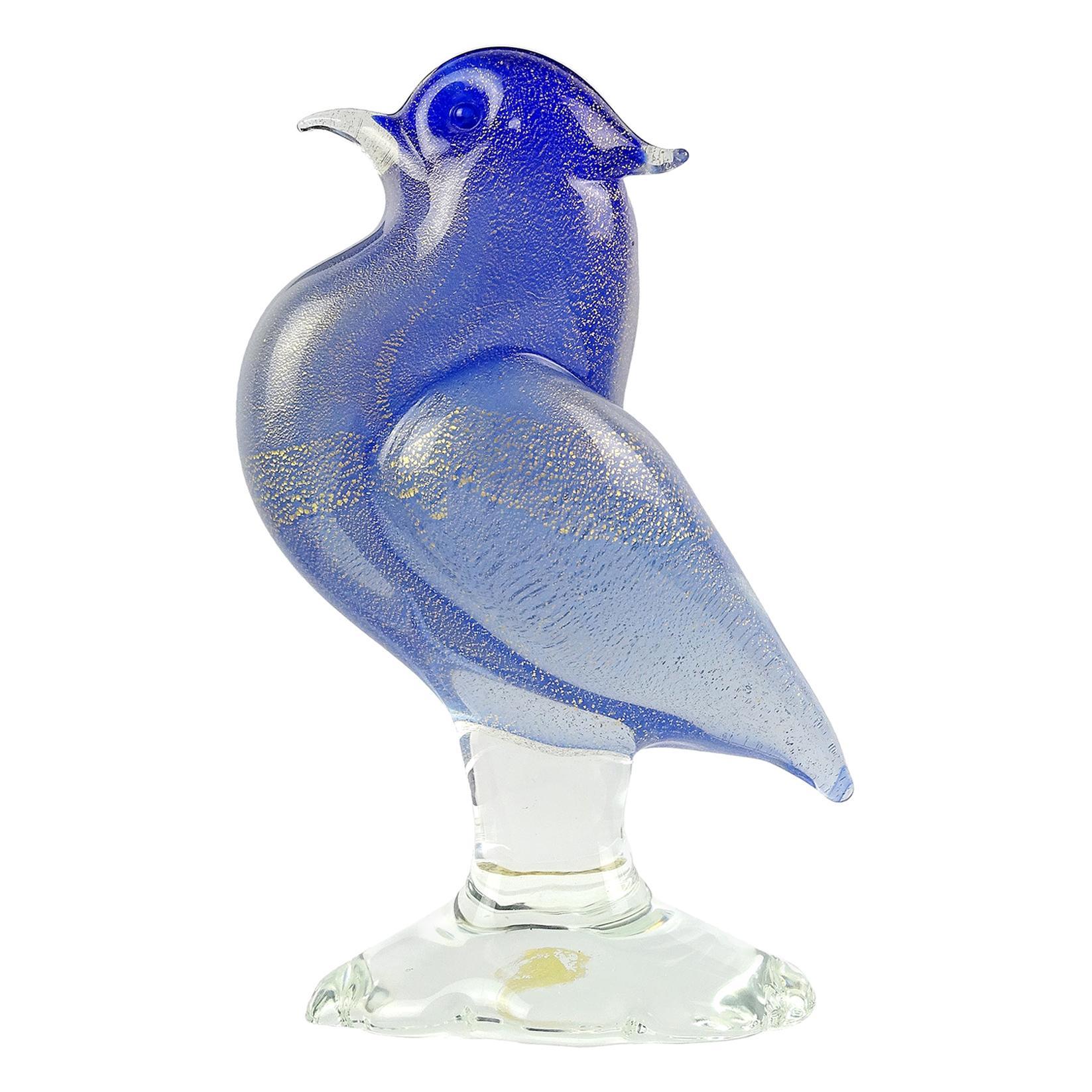 Archimede Seguso MuranoCobalt Blue Gold Flecks Italian Art Glass Bird Sculpture