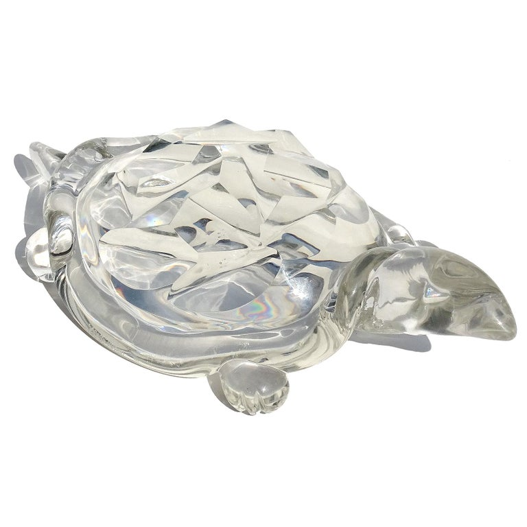 Mid-Century Modern Archimede Seguso Murano Crystal Clear Italian Art Glass Turtle Sculpture For Sale