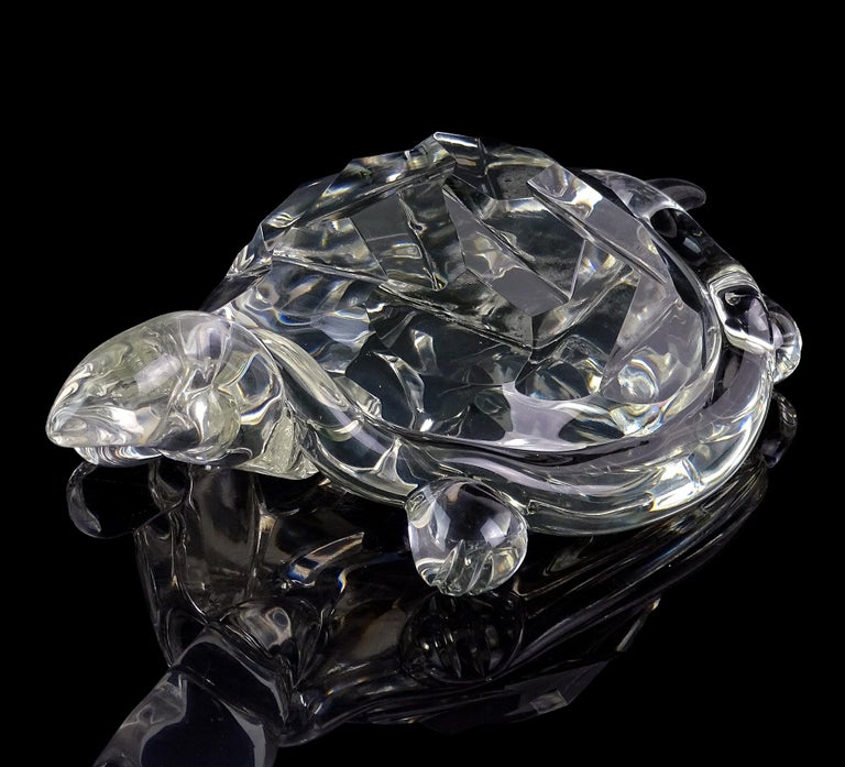 Hand-Crafted Archimede Seguso Murano Crystal Clear Italian Art Glass Turtle Sculpture For Sale