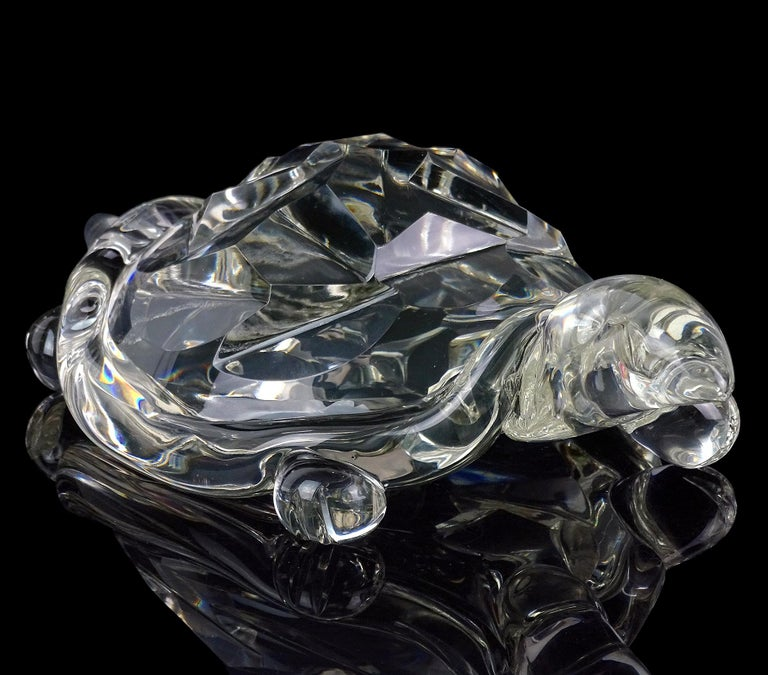 Archimede Seguso Murano Crystal Clear Italian Art Glass Turtle Sculpture For Sale 2