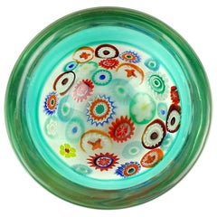 Archimede Seguso Murano Green Millefiori Canes Italian Art Glass Incalmo Bowl