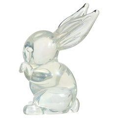 Archimede Seguso Murano Iridescent Italian Art Glass Bunny Rabbit Figurine