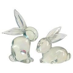 Archimede Seguso Murano Iridescent Italian Art Glass Bunny Rabbit Figurines