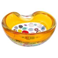 Archimede Seguso Murano Millefiori Canes Italian Art Glass Incalmo Rim Bowl