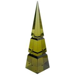 Archimede Seguso Murano Olive Green Italian Art Glass Obelisk Pyramid Sculpture