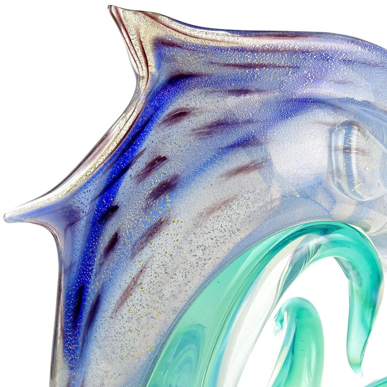 Hand-Crafted Archimede Seguso Murano Opal Blue Gold Leaf Italian Art Glass Fish Sculpture For Sale