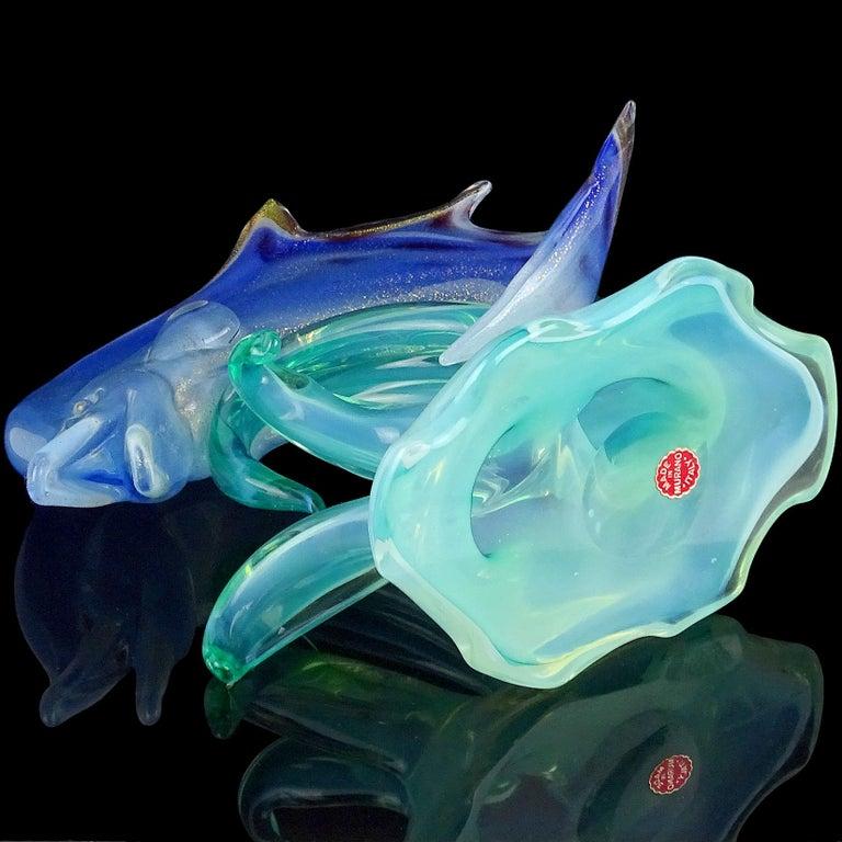 Archimede Seguso Murano Opal Blue Gold Leaf Italian Art Glass Fish Sculpture For Sale 2