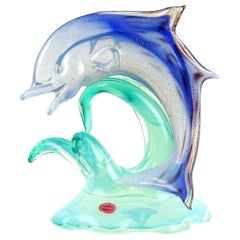 Seguso Murano Opal Blue Gold Leaf Italian Art Glass Leaping Dolphin Sculpture