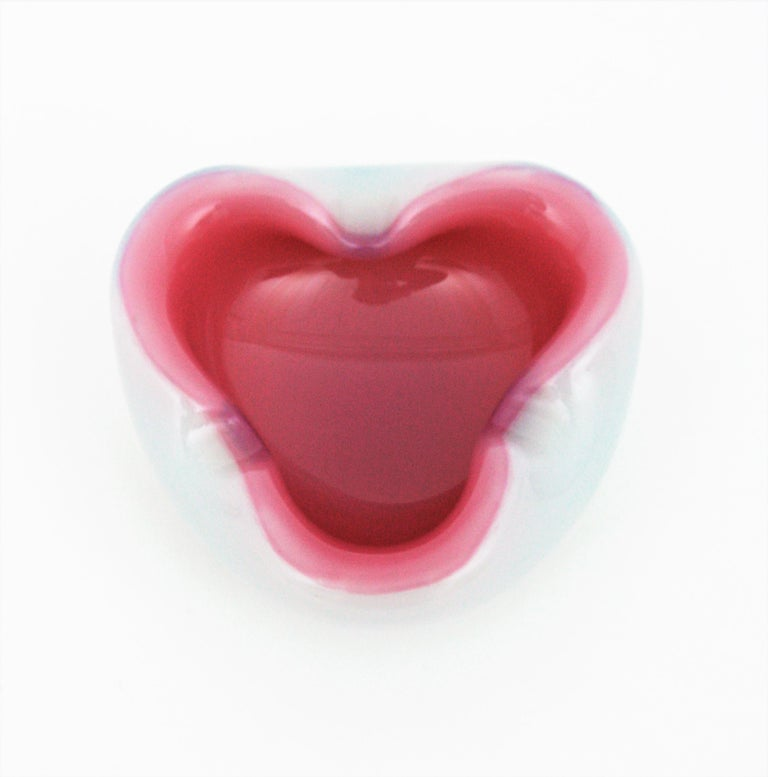 Archimede Seguso Murano Opal Pink Alabastro Glass Folded Bowl / Ashtray For Sale 1