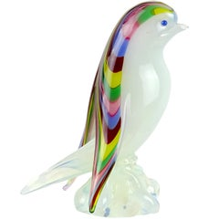 Archimede Seguso Murano Opal Rainbow Feathers Italian Art Glass Bird Figurine