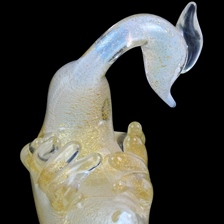 Archimede Seguso Murano Opal White Gold Italian Art Glass Swan Bird Sculpture For Sale 1