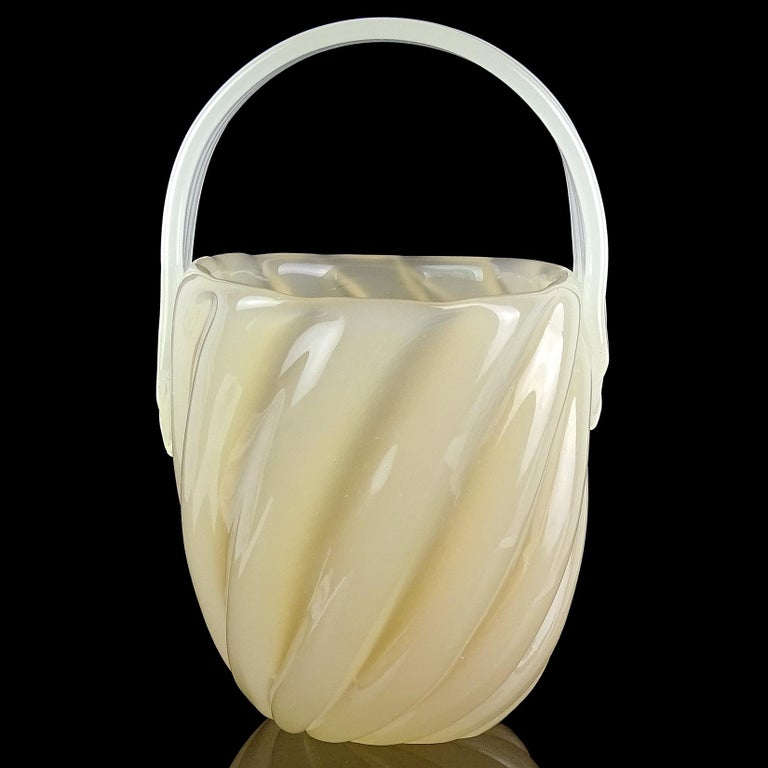 Beautiful Murano hand blown opalescent caramel / butterscotch Italian art glass flower basket / vase. Documented to designer Archimede Seguso, with original