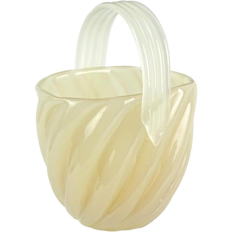 Archimede Seguso Murano Opalescent Caramel Italian Art Glass Flower Basket Vase For Sale