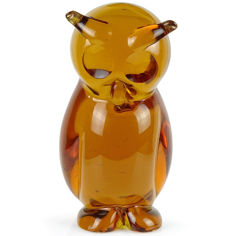 Beautiful Murano hand blown Sommerso orange amber Italian art glass horned owl bird sculpture. Documented to designer Archimede Seguso, with original