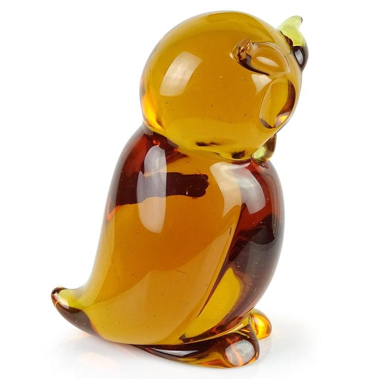 Archimede Seguso Murano Orange Amber Italian Art Glass Owl Bird Sculpture In Good Condition For Sale In Kissimmee, FL