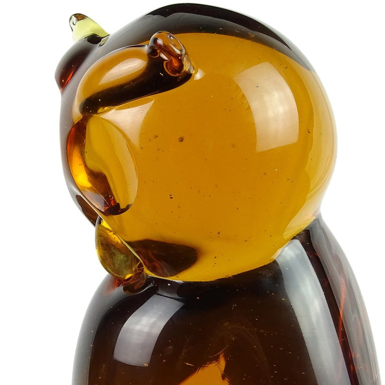Hand-Crafted Archimede Seguso Murano Orange Amber Italian Art Glass Owl Bird Sculpture