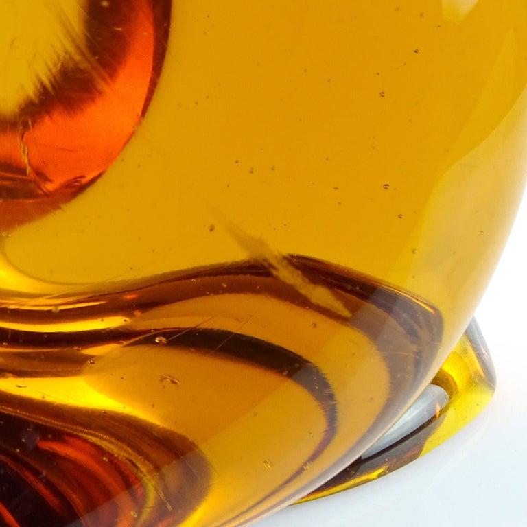 Archimede Seguso Murano Orange Amber Italian Art Glass Owl Bird Sculpture For Sale 3