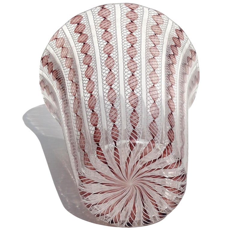 20th Century Archimede Seguso Murano Purple White Zanfirico Ribbons Italian Art Glass Vase For Sale