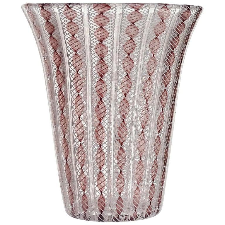 Archimede Seguso Murano Purple White Zanfirico Ribbons Italian Art Glass Vase For Sale