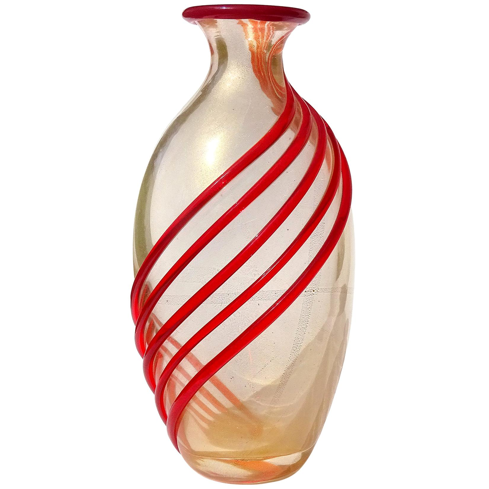 Archimede Seguso Murano Red Bands Gold Flecks Italian Art Glass Flower Vase
