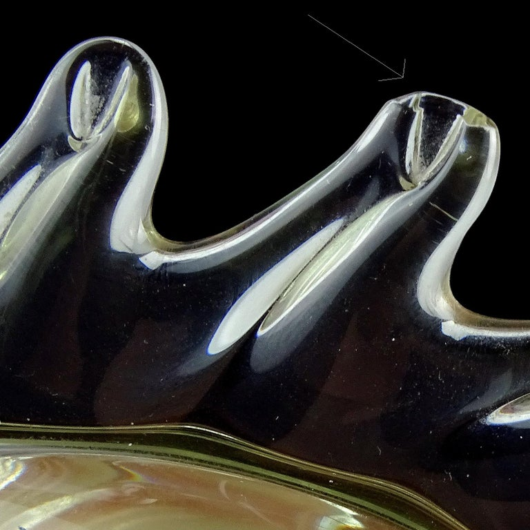 Hand-Crafted Archimede Seguso Murano Signed Black Clear Italian Art Glass Fish Sculpture For Sale