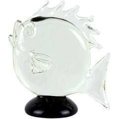 Archimede Seguso Murano Signed Black Clear Italian Art Glass Fish Sculpture