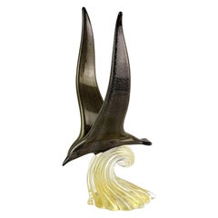 Archimede Seguso Murano Signed Black Gold Italian Art Glass Seagull Sculpture