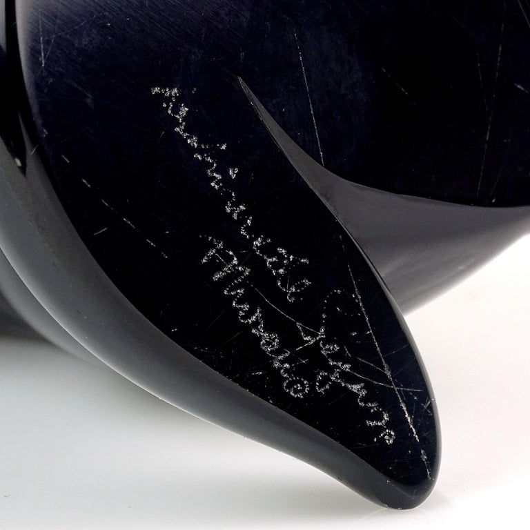 Archimede Seguso Murano Signed Black Italian Art Glass Cat Kitten Sculpture In Good Condition In Kissimmee, FL