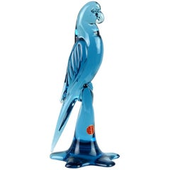 Archimede Seguso Murano Slate Blue Italian Art Glass Parrot Bird Sculpture